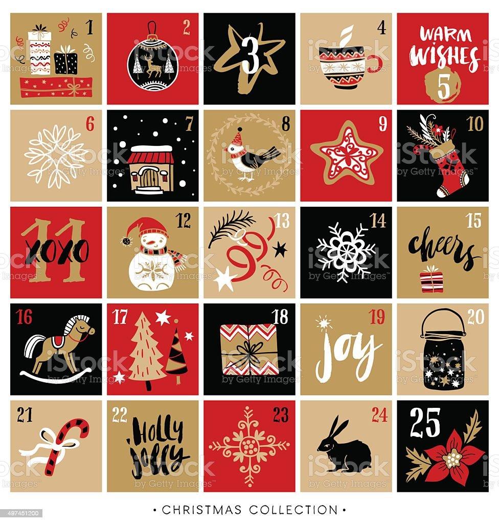 Christmas advent calendar. Hand drawn design and calligraphy. vector art illustration