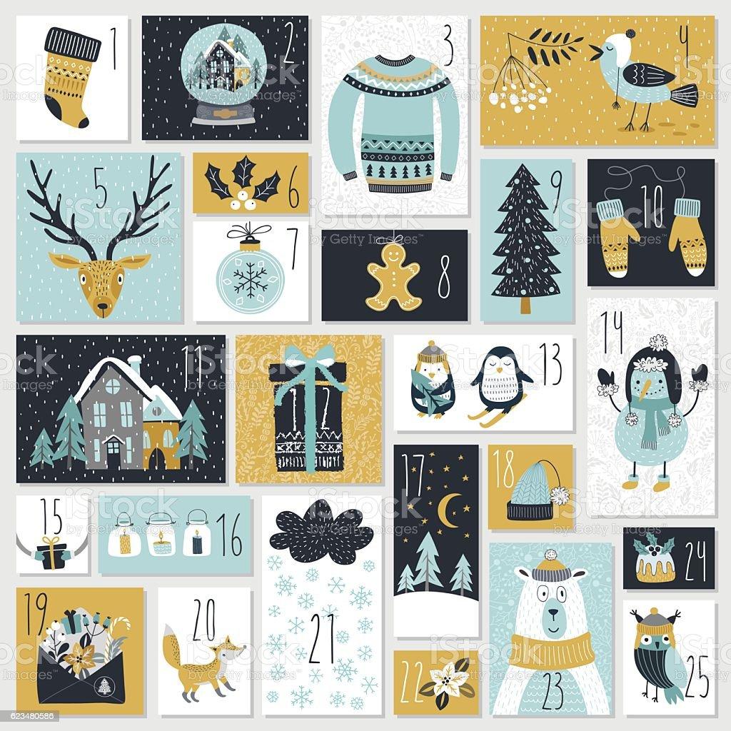Christmas advent calendar, hand drawn style. vector art illustration