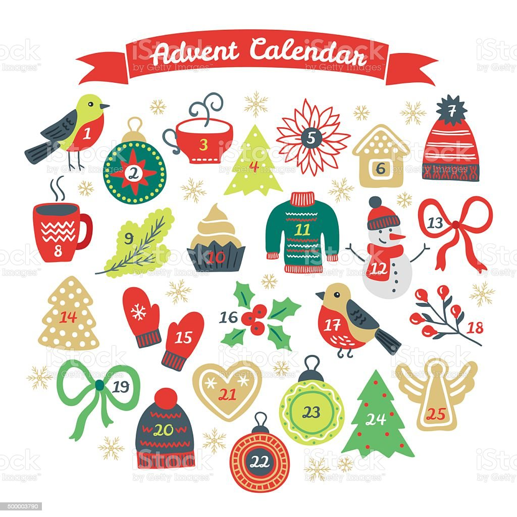 Christmas Advent Calendar with bullfinch, ball, fir tree, cookies vector art illustration