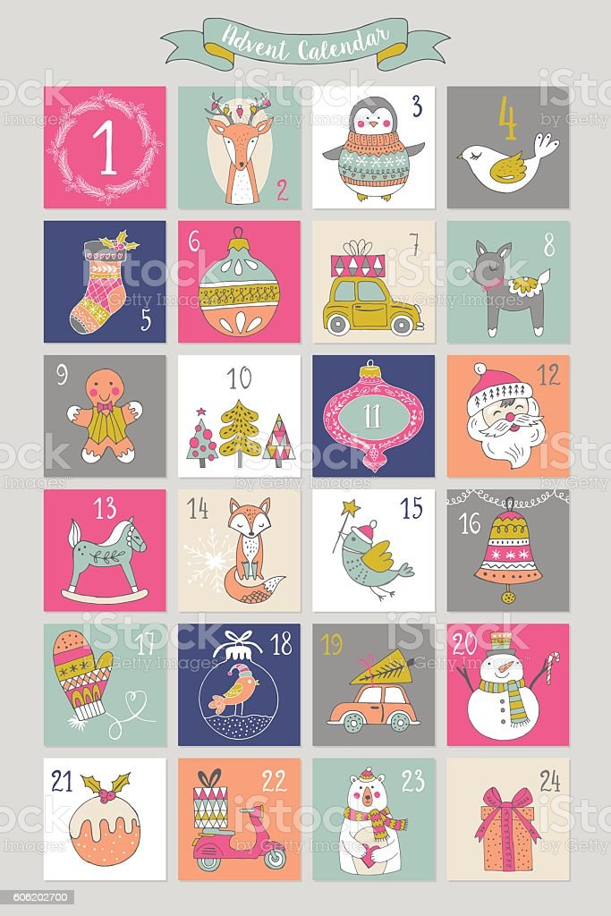 Christmas advent calendar with hand drawing elements. Isolated vector vector art illustration