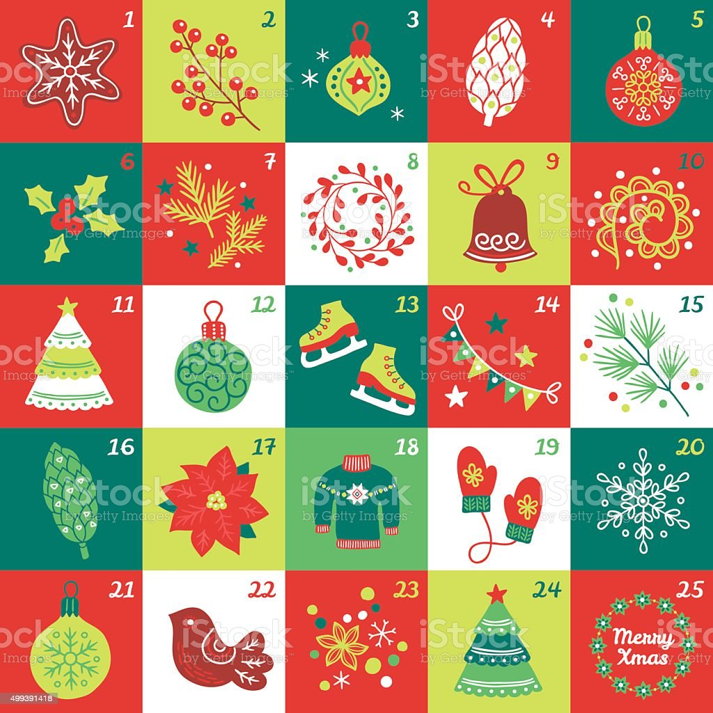 Christmas Advent Calendar with star, cookie, ball, cone, berries, bauble vector art illustration