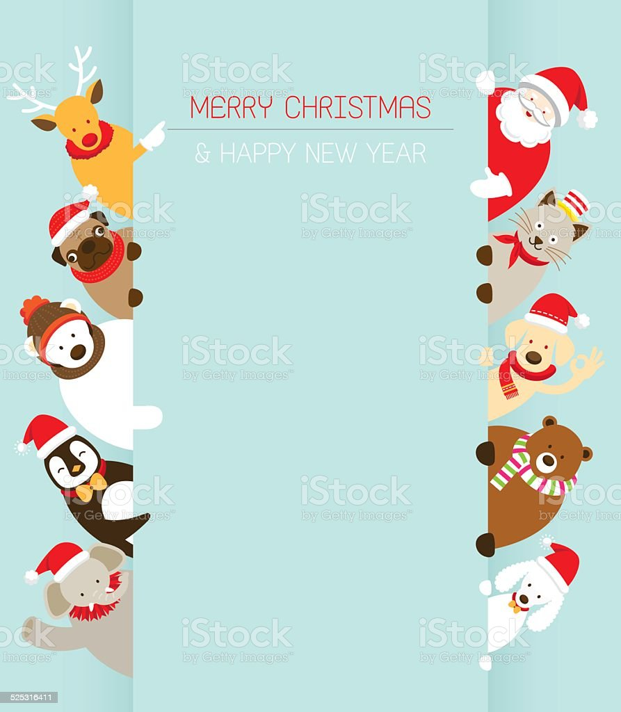 Christmas and Animals with Copy Space vector art illustration