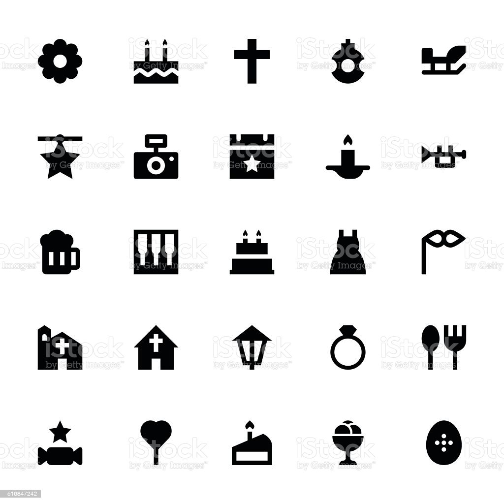 Christmas and Easter Vector Icons 5 vector art illustration