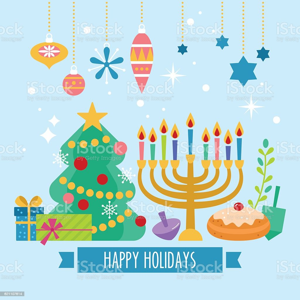 Christmas and Hanukkah holiday banner design vector art illustration