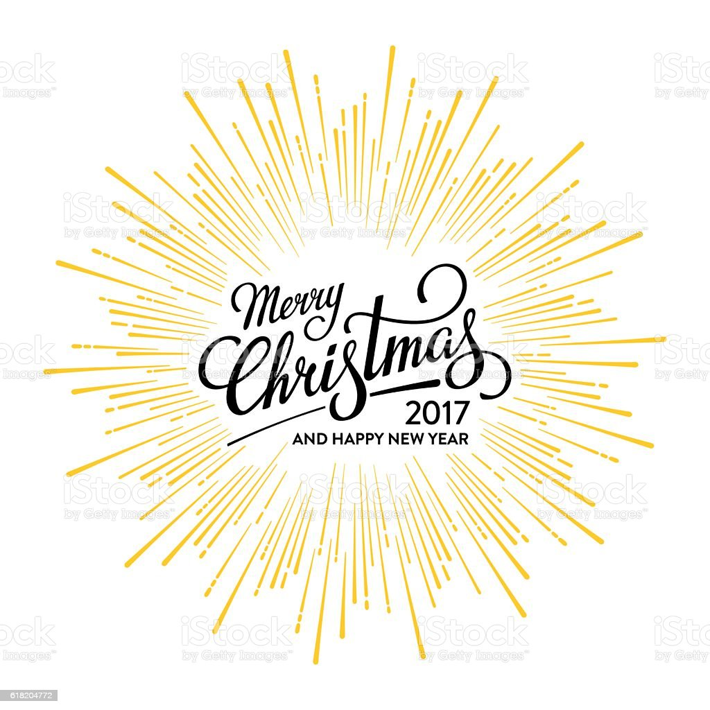 Christmas and Happy New Year 2017 White vector art illustration