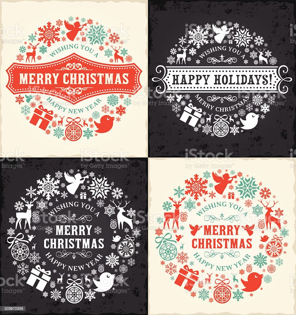 Christmas and Happy New Year Concept vector art illustration