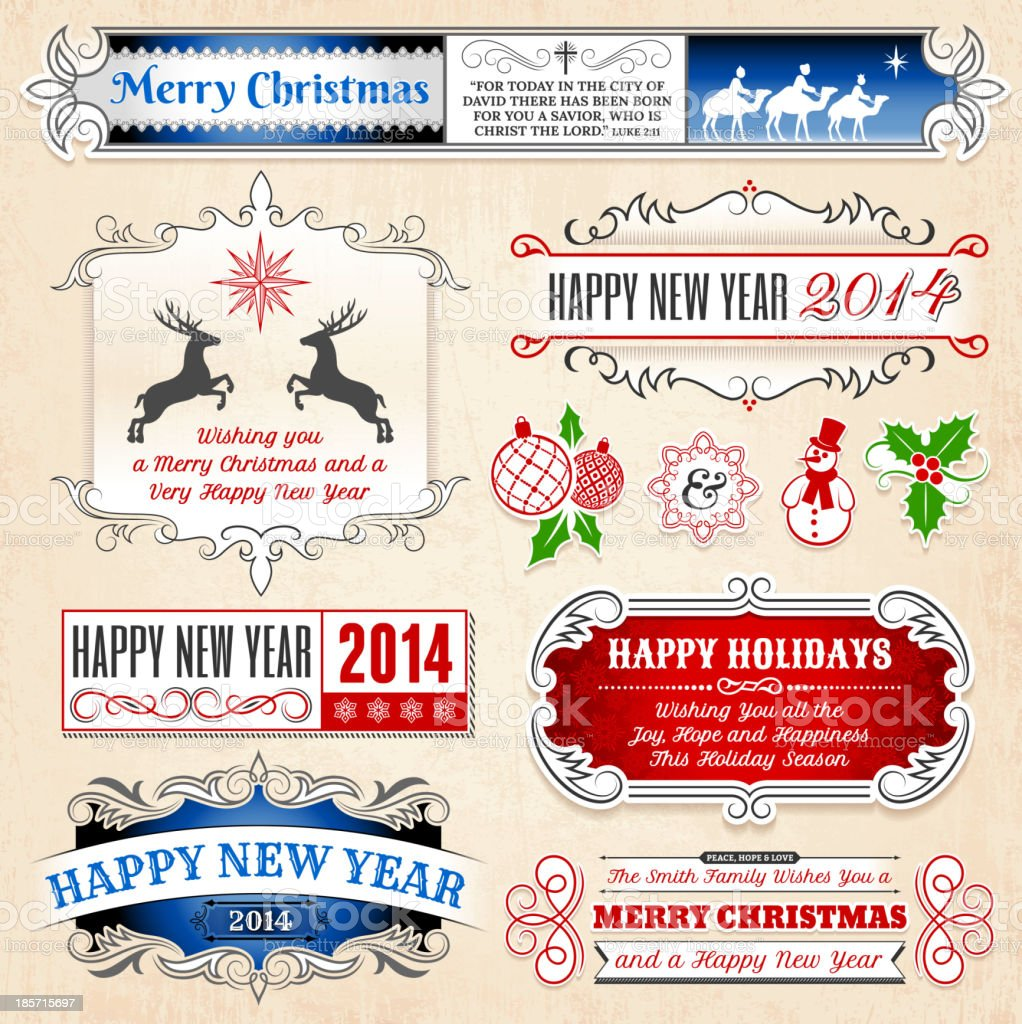Christmas and Holiday Banners & Badges Set royalty-free stock vector art