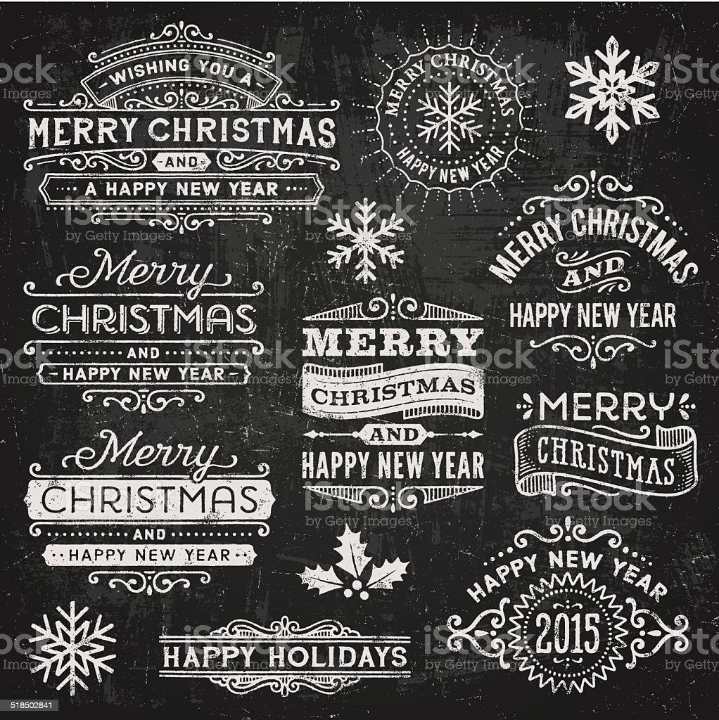Christmas and Holiday Chalkboard Badges vector art illustration