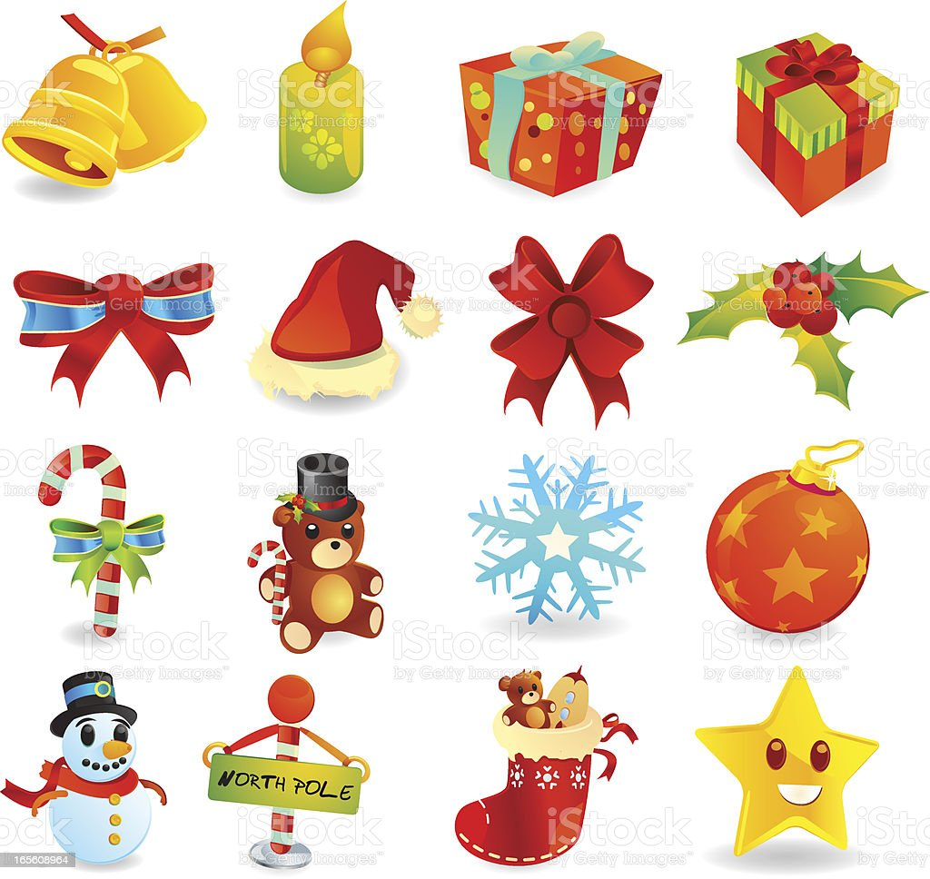 Christmas and Holiday Icons vector art illustration