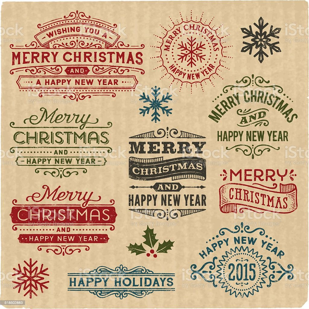 Christmas and Holiday Rubber Stamps vector art illustration