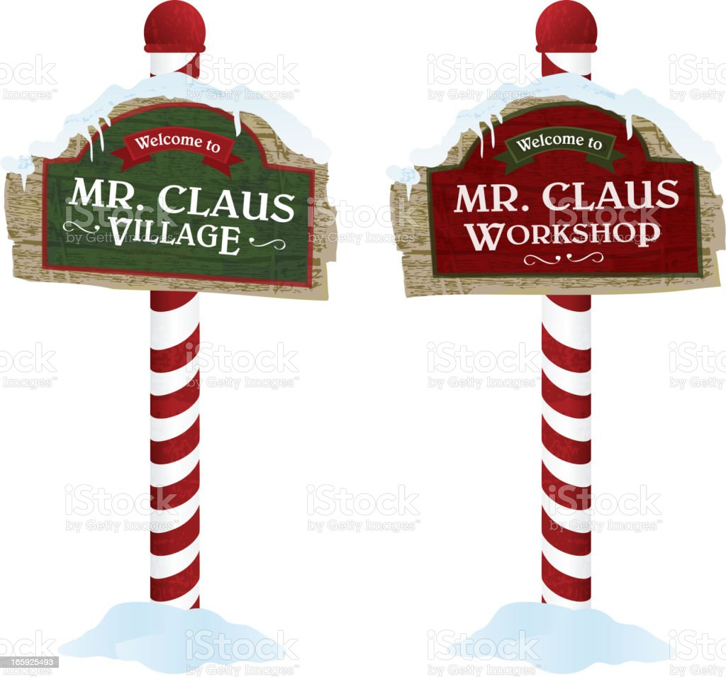 Christmas and Holiday wooden workshop village signs vector art illustration