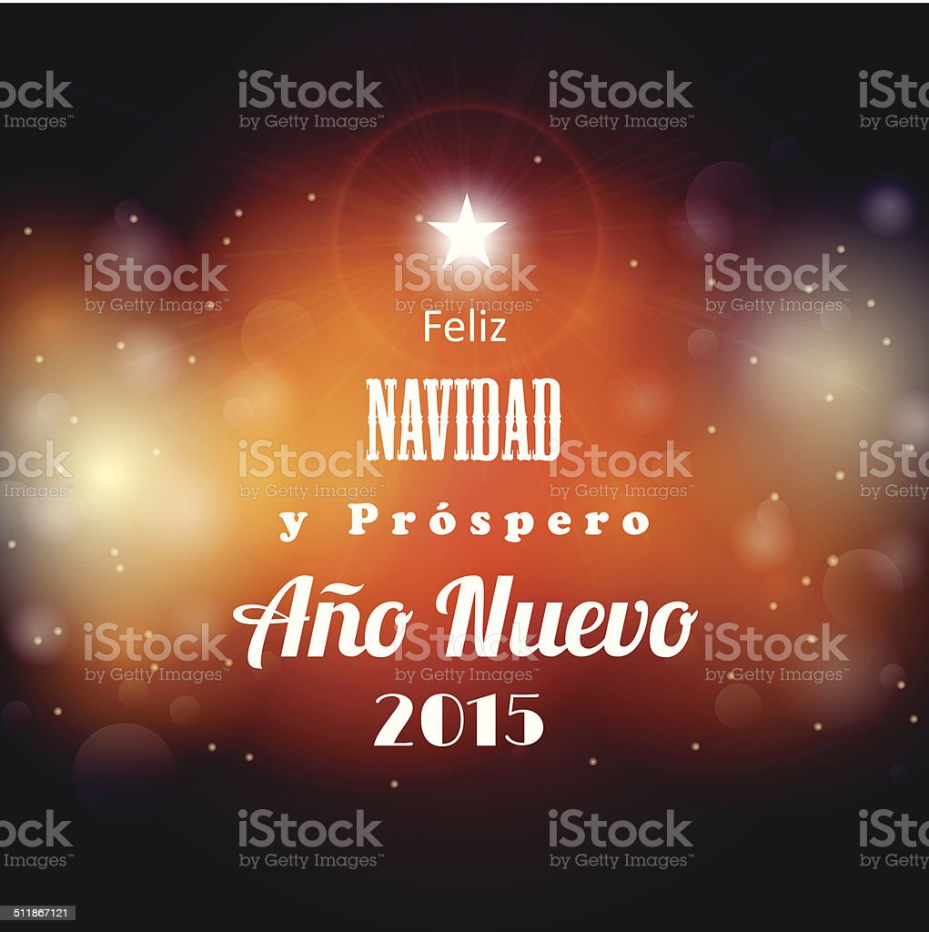 christmas and new year 2015 greeting card, spanish version vector art illustration