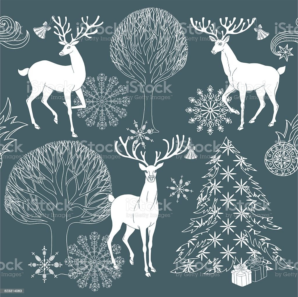 Christmas and New Year blue festive background vector art illustration