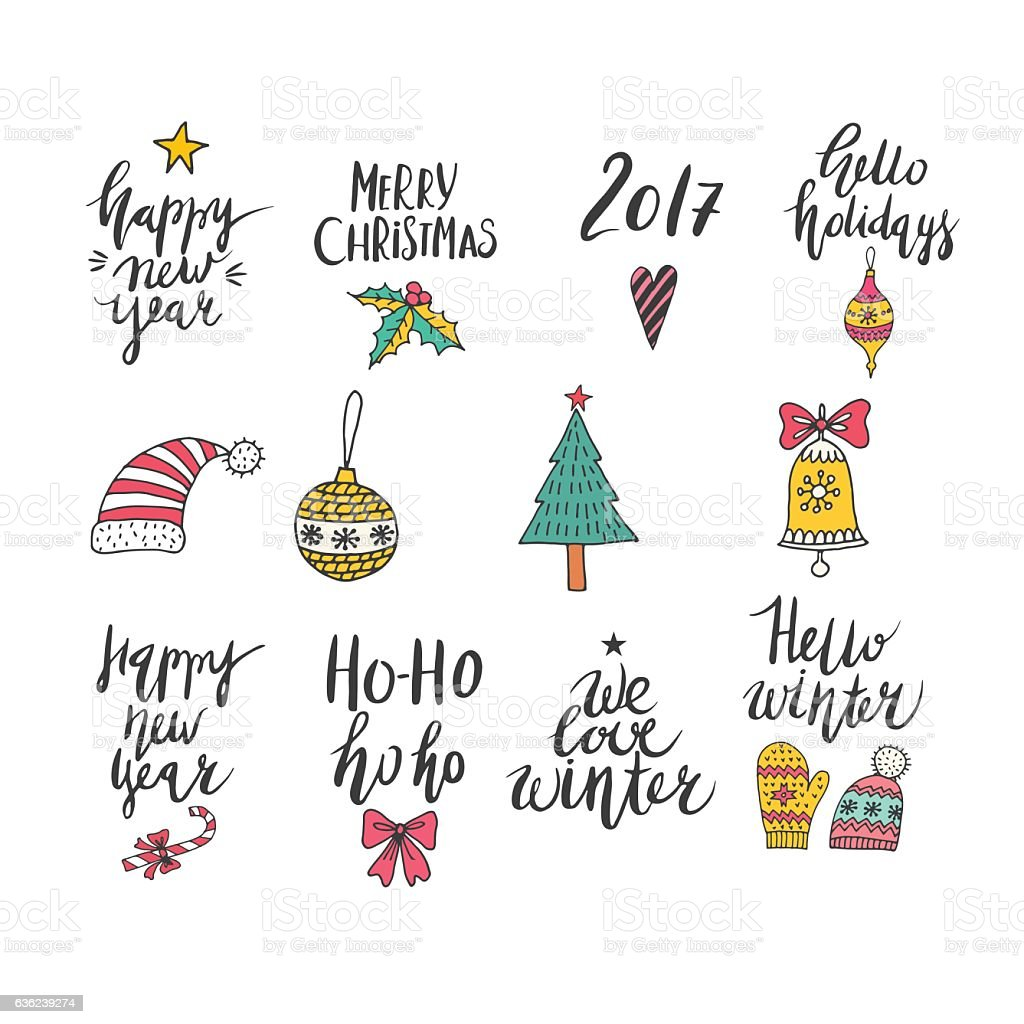 Christmas and New Year card design elements. royalty-free stock vector art