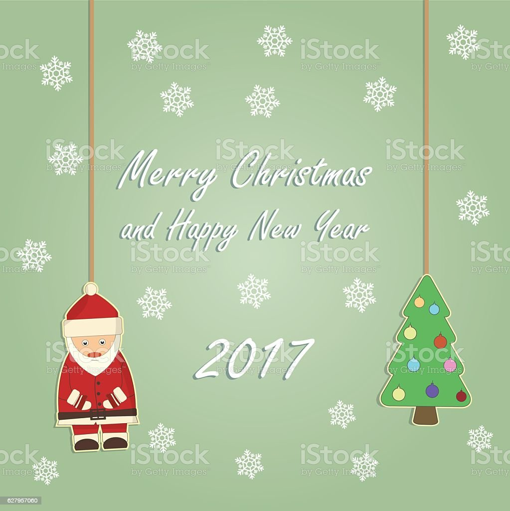 Christmas and New Year card vector art illustration