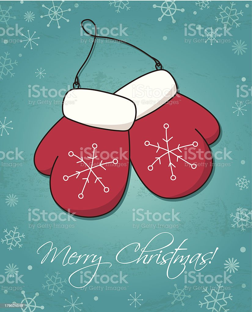 Christmas and New Year card wiht mittens royalty-free stock vector art