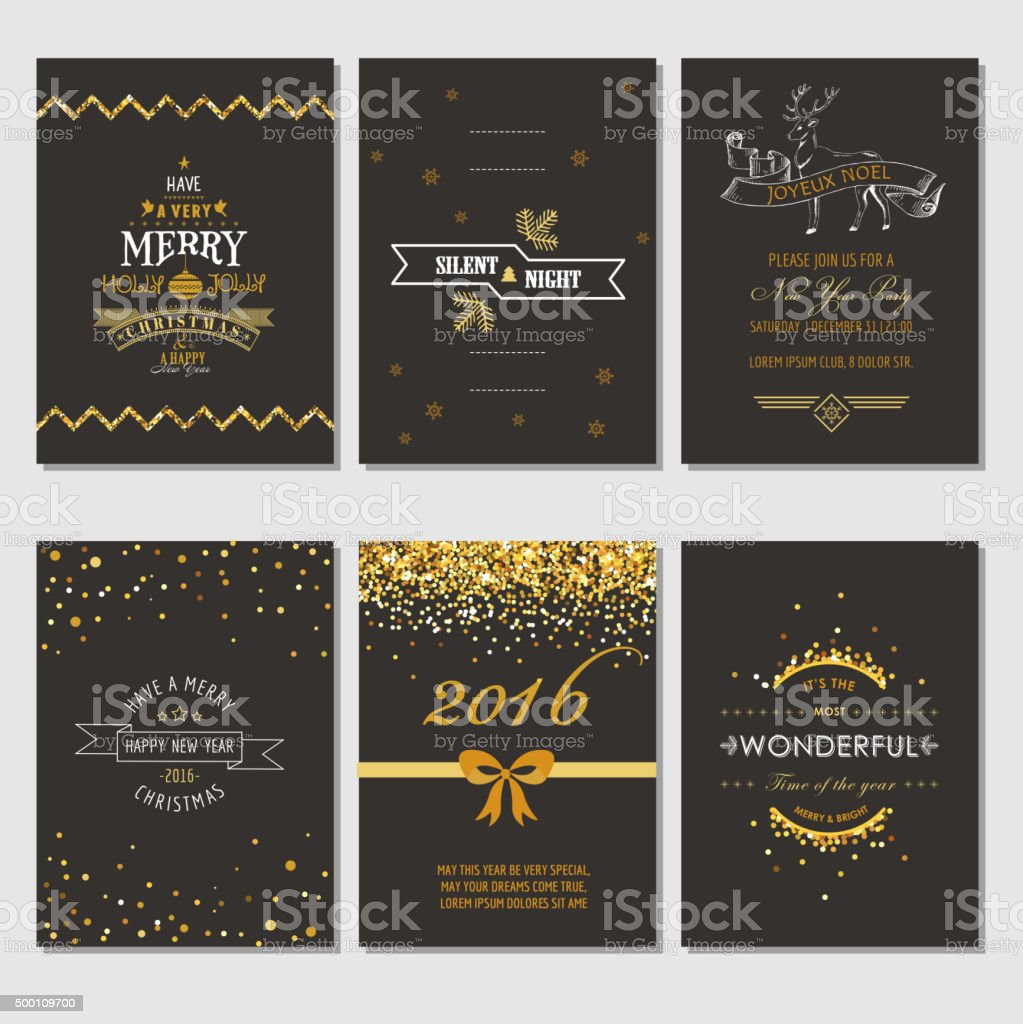 Christmas and New Year Cards - Art Deco Style vector art illustration