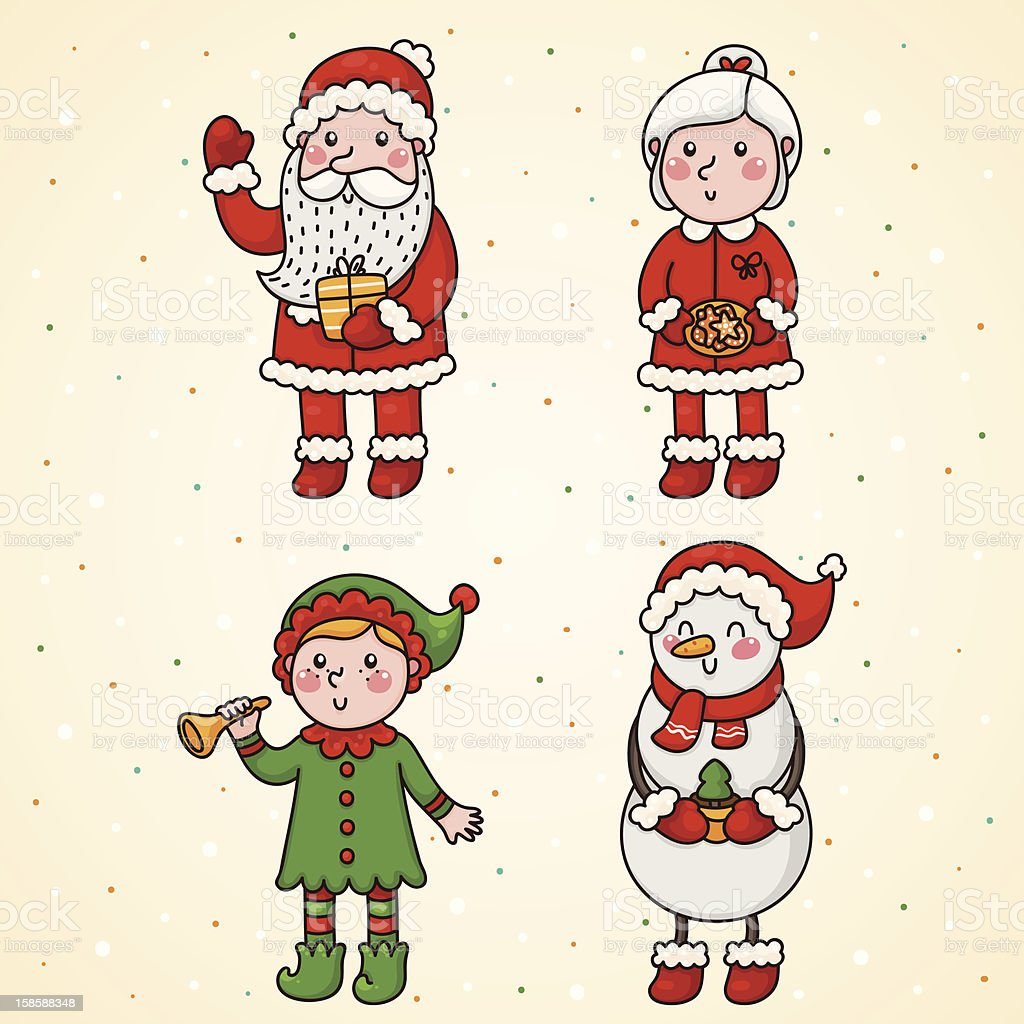 Christmas and new year characters royalty-free stock vector art