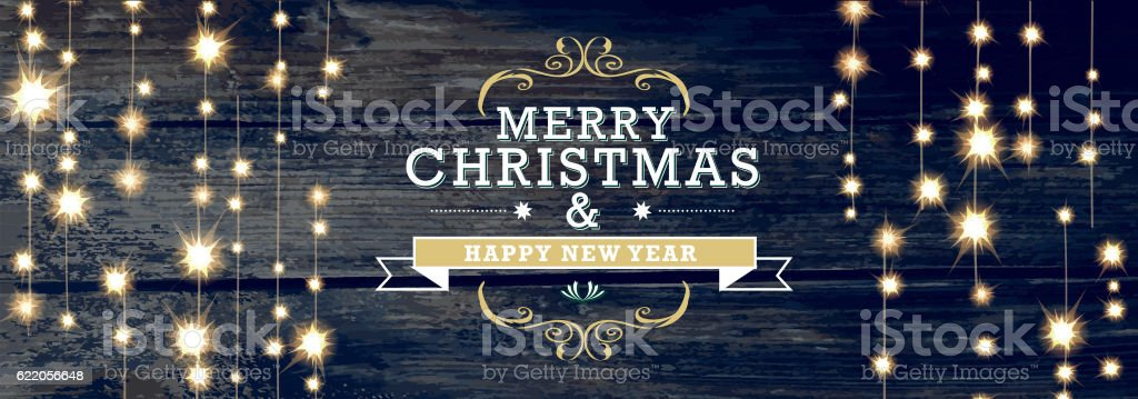 Christmas and New Year design woodgrain with string lights vector art illustration