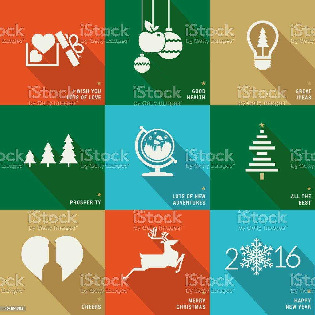Navidad y Año Nuevo diseño plano iconos, carteles y tarjetas illustracion libre de derechos libre de derechos