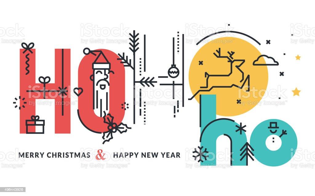 Navidad y Año nuevo concepto de diseño línea plana illustracion libre de derechos libre de derechos