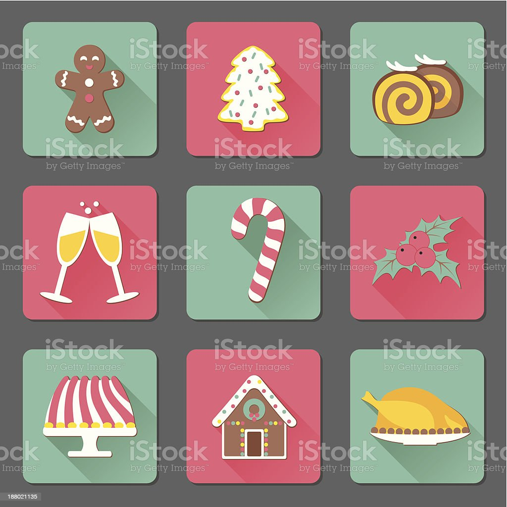 Christmas and New Year food flat icons set vector art illustration