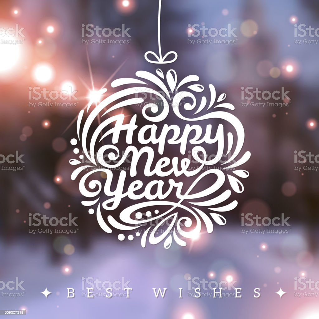 Christmas and New Year greeting card. vector art illustration