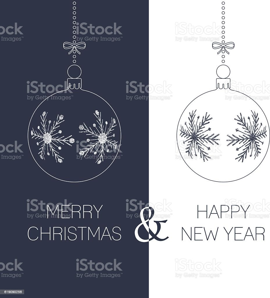 christmas and new year greeting card vector art illustration