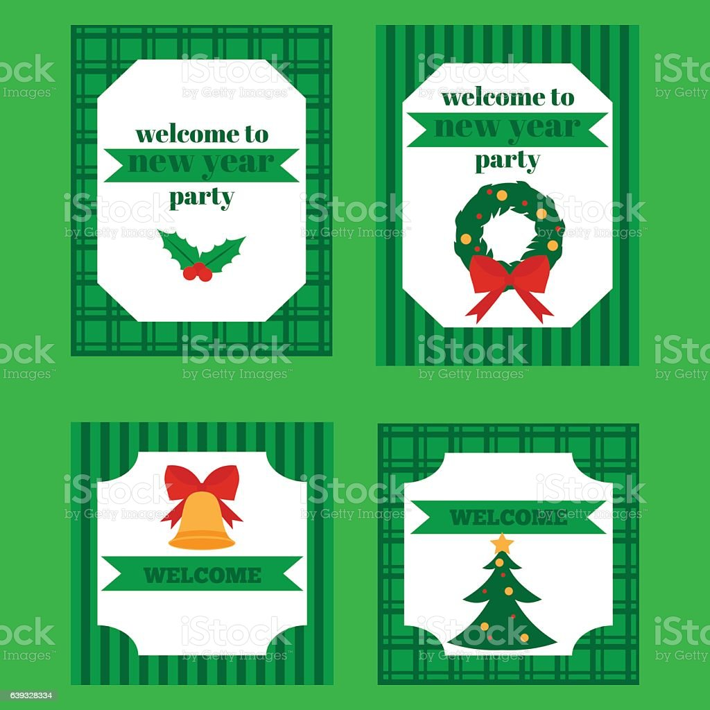 Christmas and New Year icons set. vector art illustration