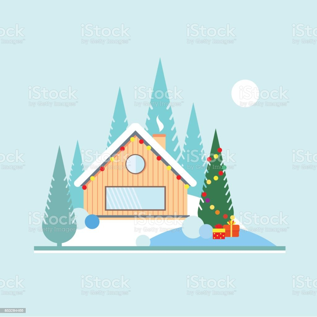 Christmas and new year in the forest. Christmas tree with toys outdoors. Wooden house with a garland in the woods on the edge of the forest. Landscape in flat style. vector art illustration