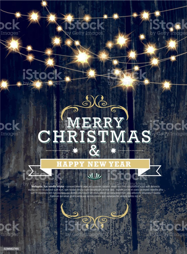 Christmas and New Year invitation design woodgrain with string lights vector art illustration