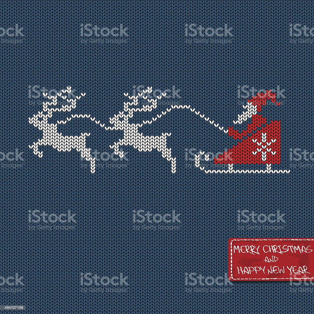 Christmas and New Year knitted pattern card vector art illustration