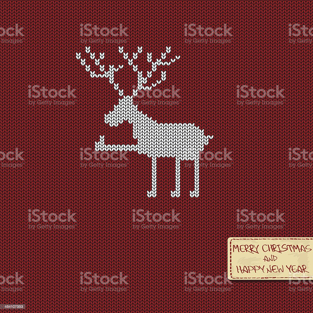 Christmas and New Year knitted pattern card royalty-free stock vector art