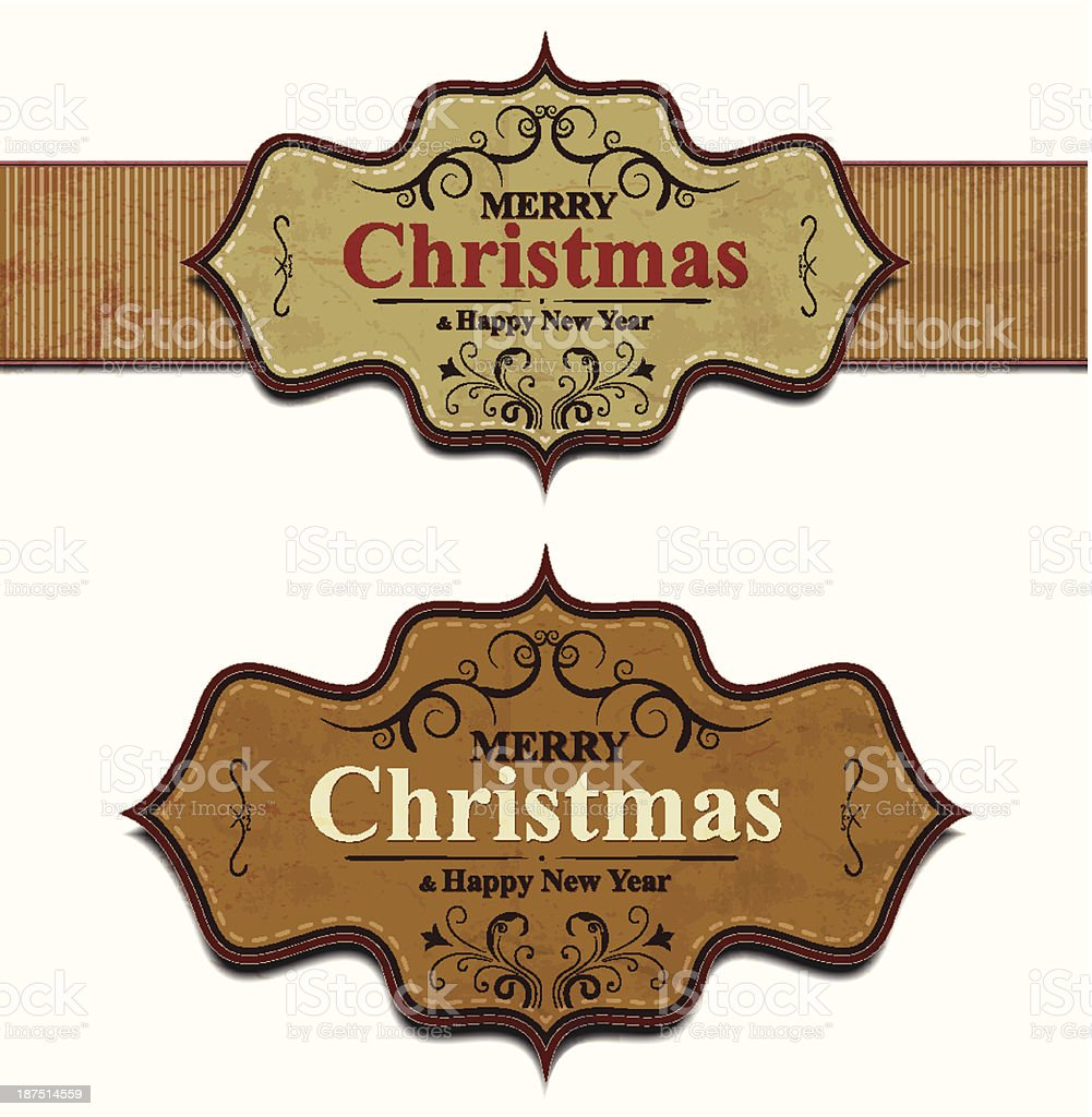 Christmas and New Year Labels vector art illustration