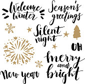Christmas and New Year lettering set.  Hand lettered quotes.