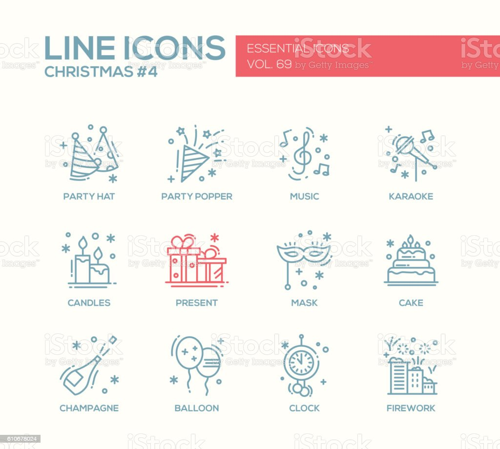 Christmas and New Year - line design icons set vector art illustration