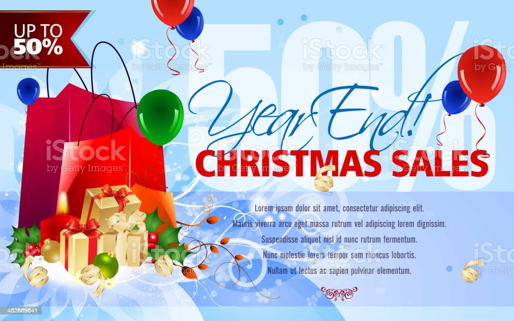 Christmas and New Year Sales Background royalty-free stock vector art