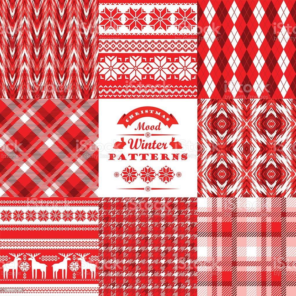 Christmas and New Year Set.Plaid and ornamental seamless backgro vector art illustration