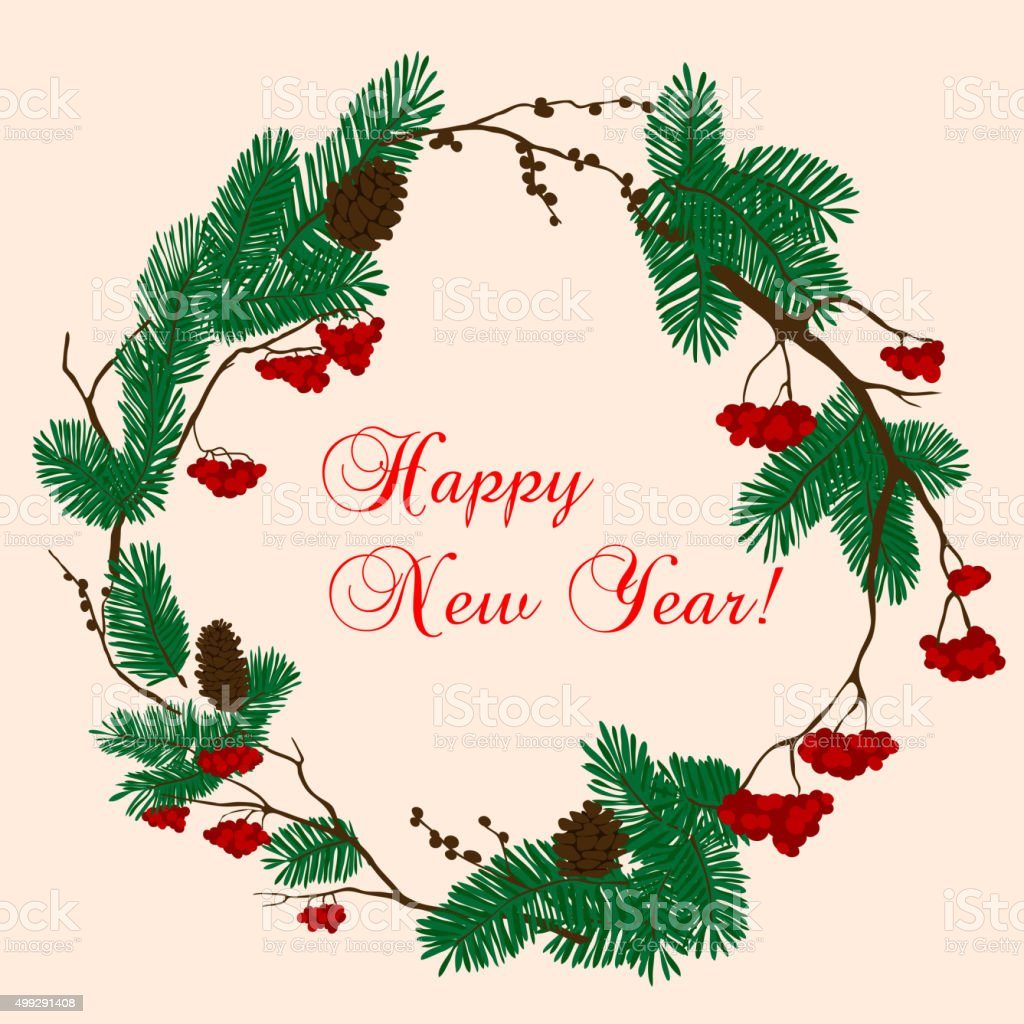 Christmas and New Year wreath with red berries vector art illustration