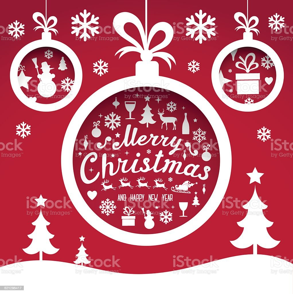 Christmas and New Year's  Greeting Card vector art illustration