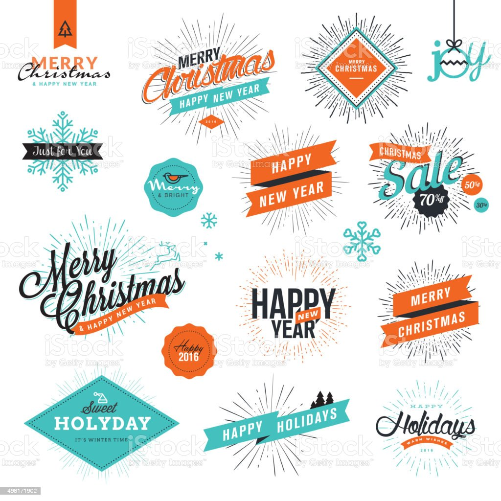 Christmas and New Year's vintage style signs vector art illustration