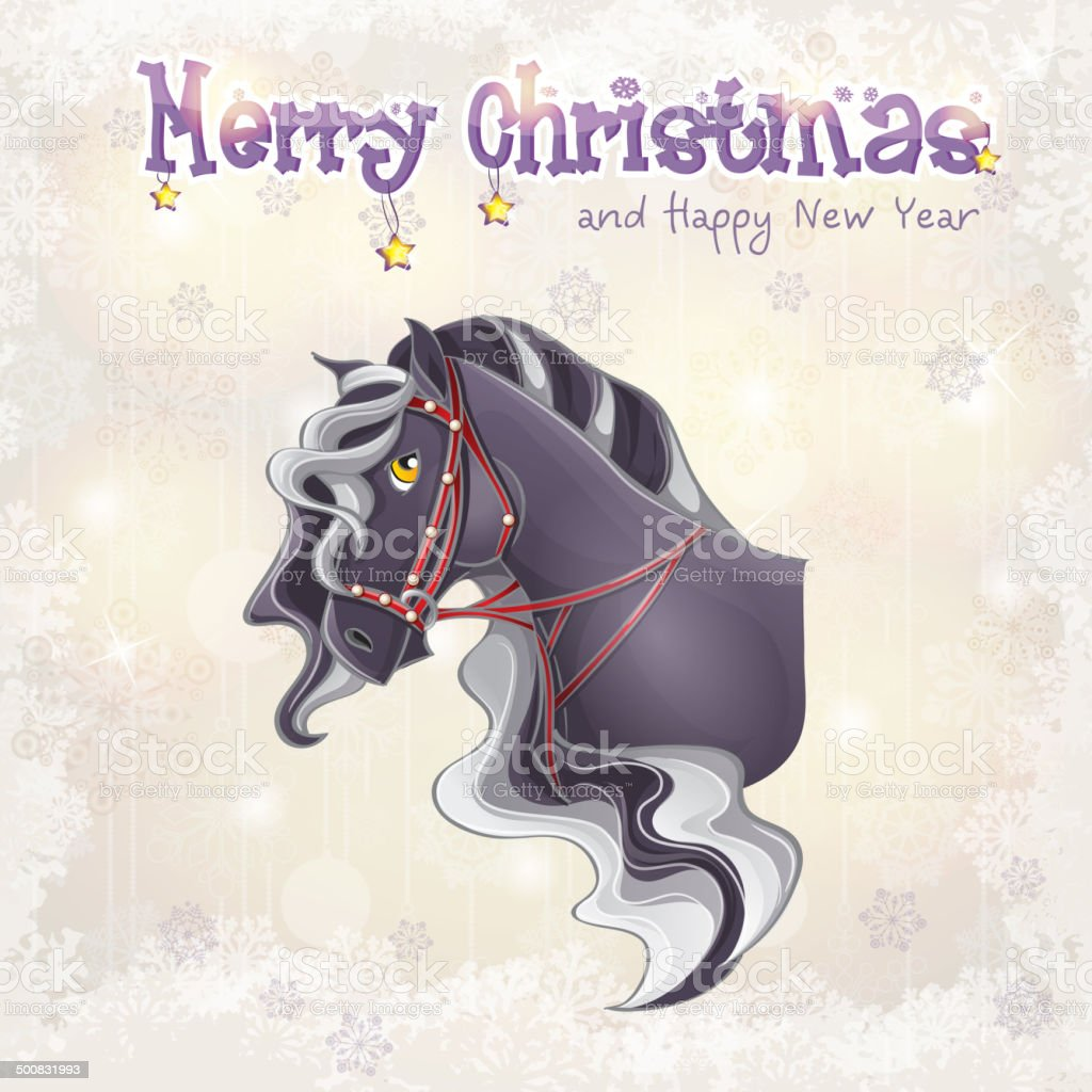 Christmas and the new year with picture of a horse royalty-free stock vector art