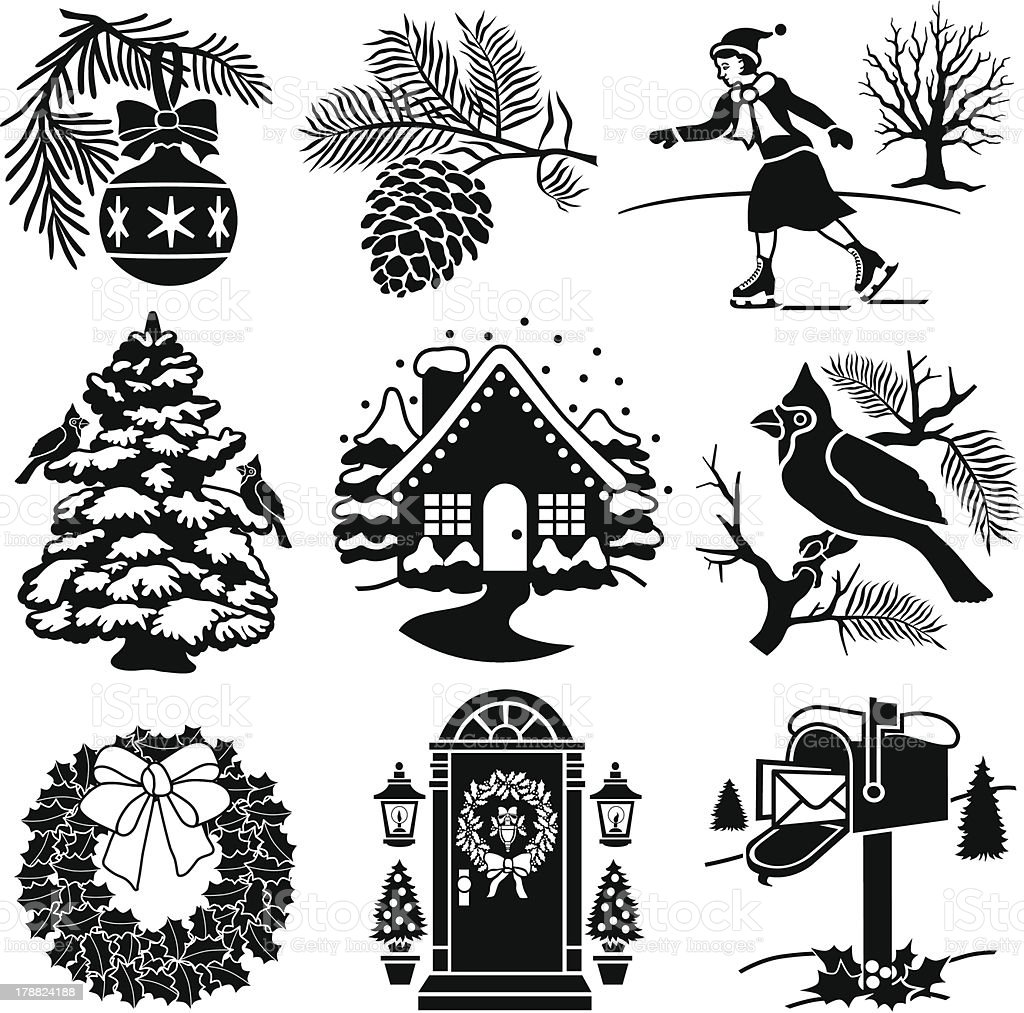 Christmas and winter icons royalty-free stock vector art