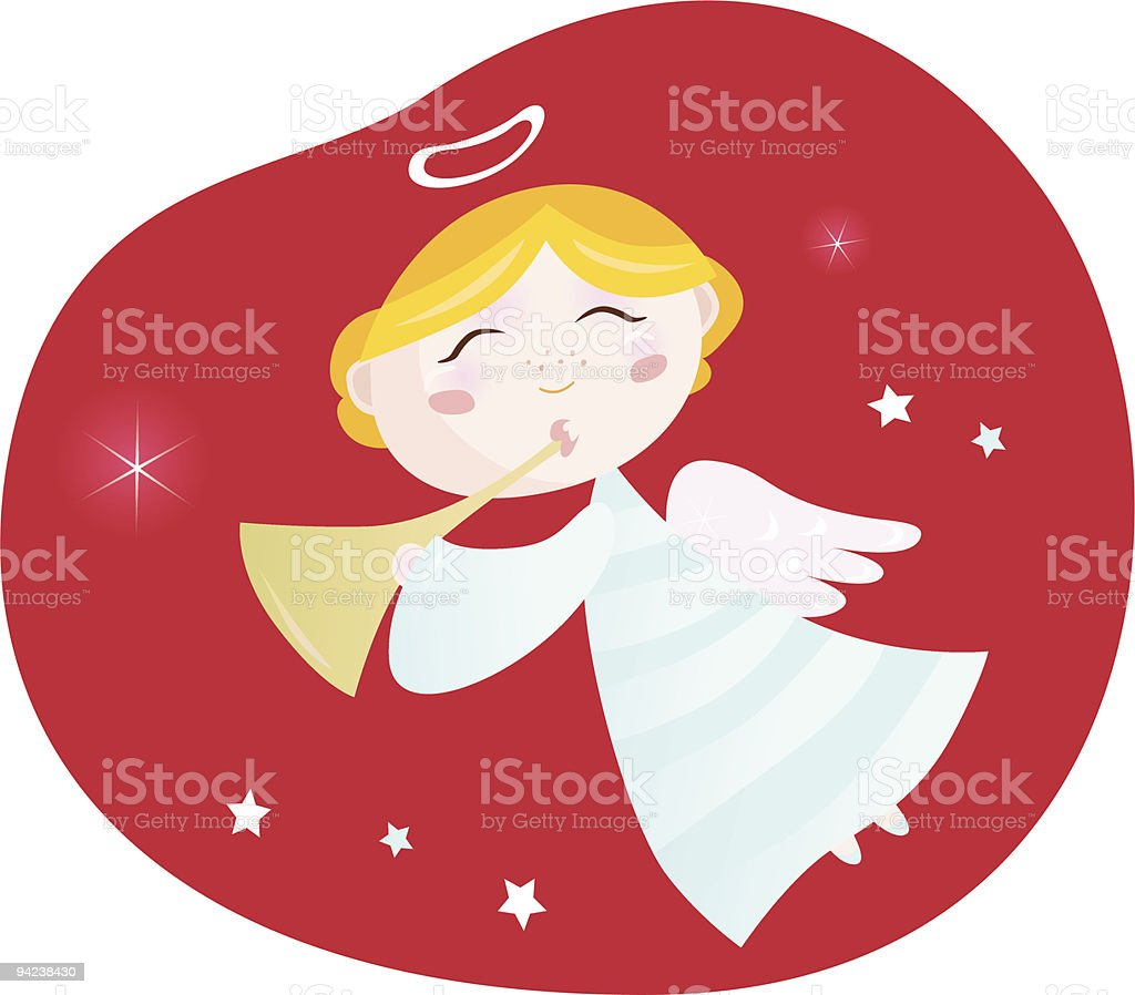 Christmas angel boy with trumpet royalty-free stock vector art