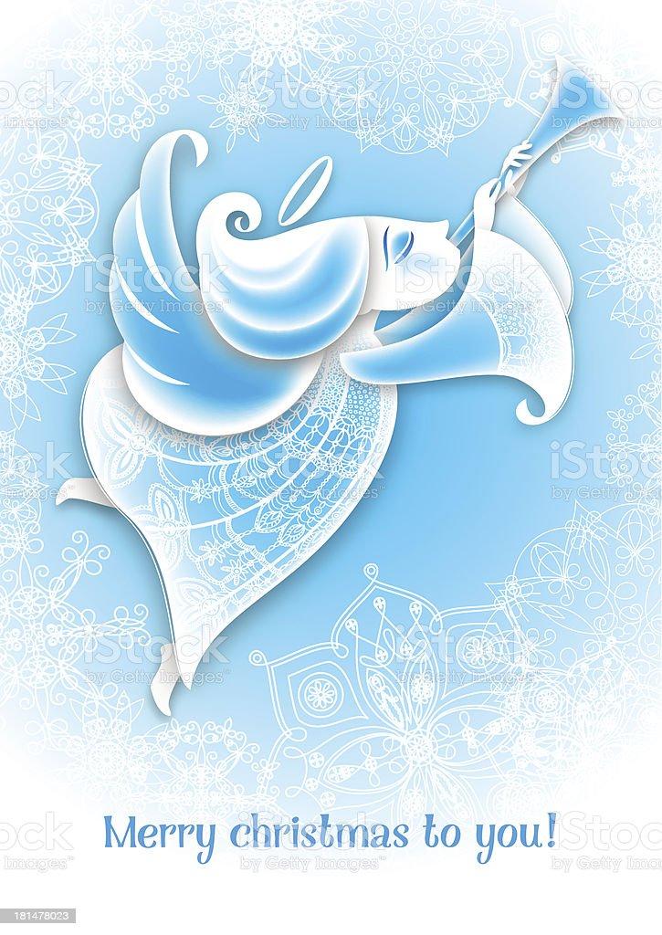 Рождественский Ангел играет годе на синем фоне векторная иллюстрация