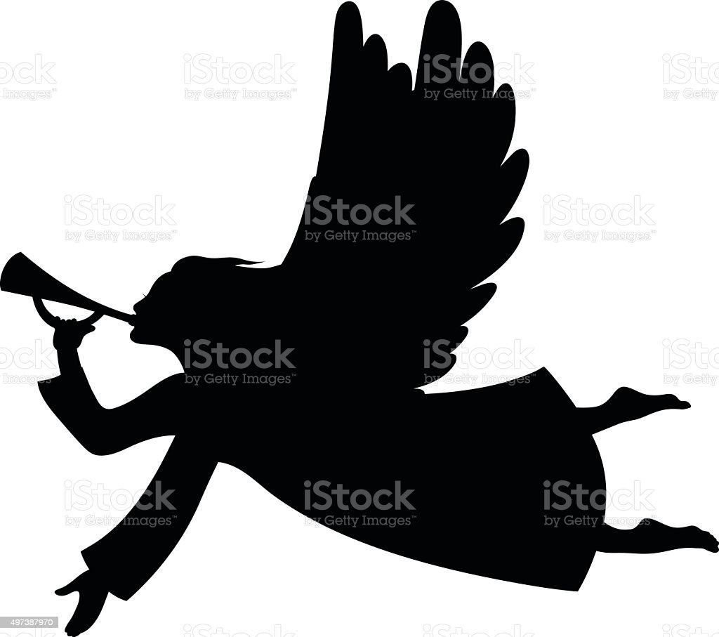 Christmas angel silhouette vector art illustration