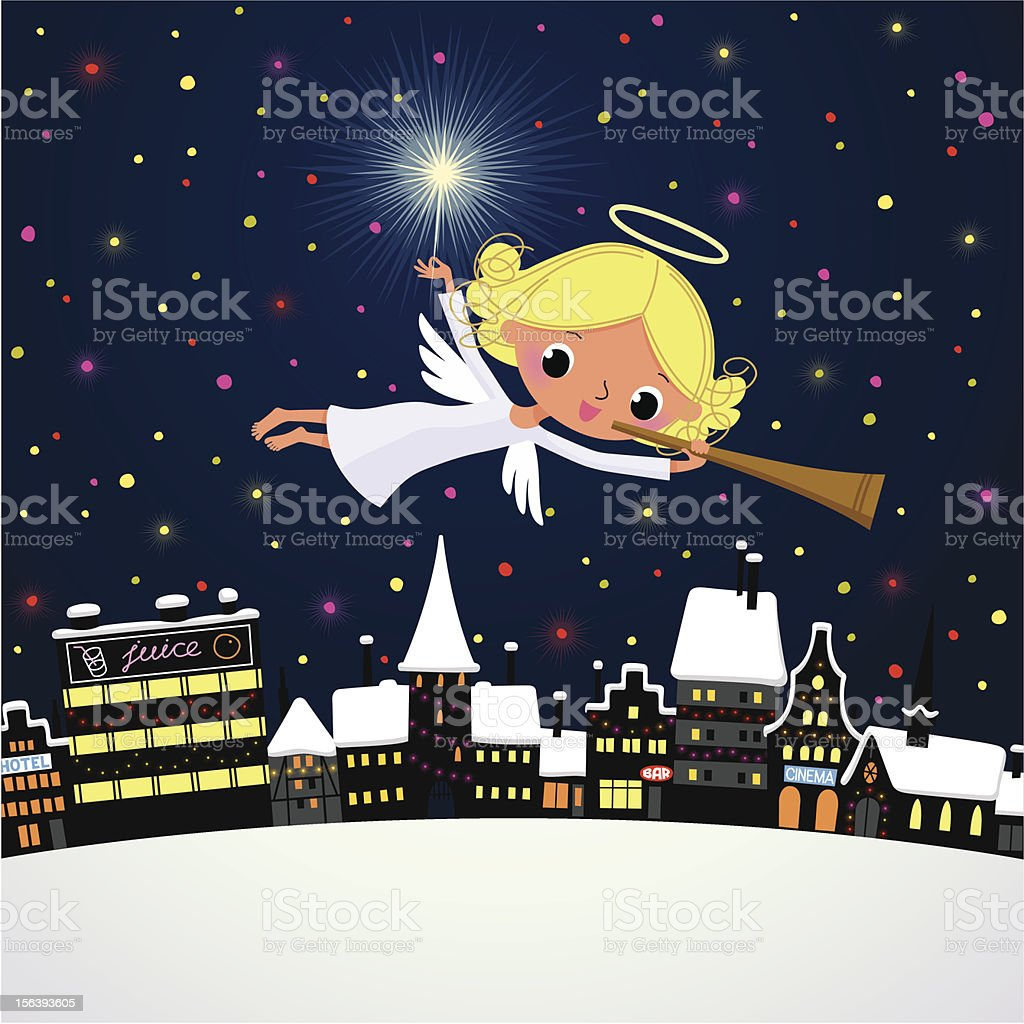 Christmas Angel with a Trumpet vector art illustration