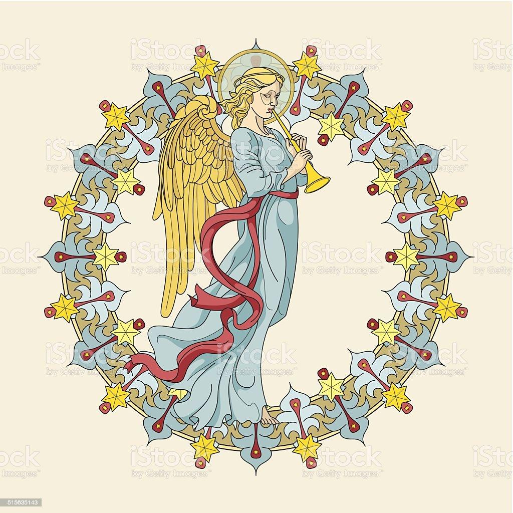 Christmas angel (Christkind) with ornamental aureola (Christmas card) vector art illustration