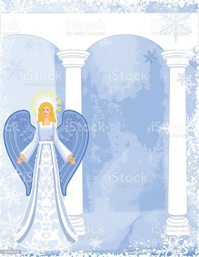 Christmas Angel With Snowy Background vector art illustration