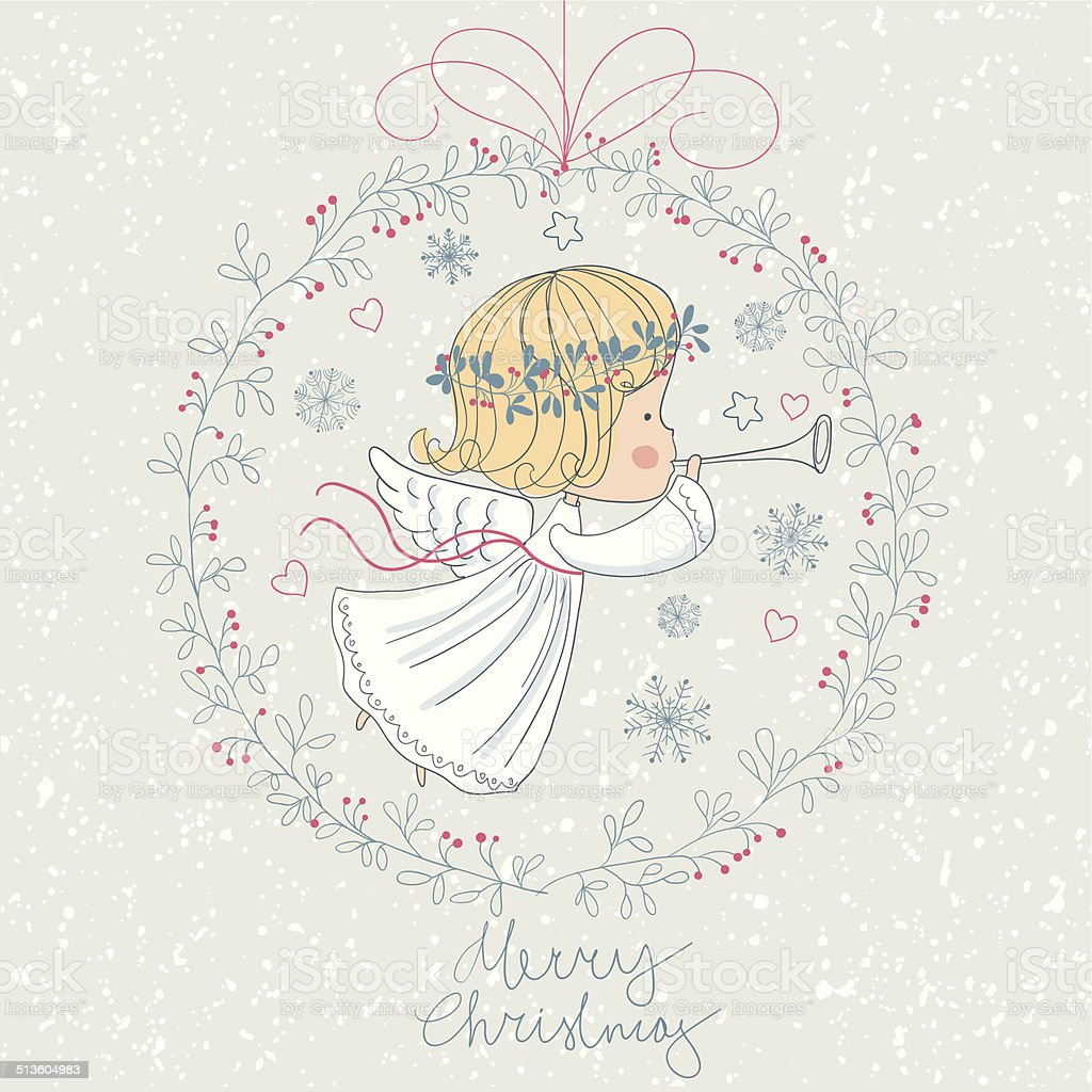 Christmas angel with trumpet. royalty-free stock vector art
